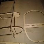 Лазерная резка 4мм фанеры (детали фюзеляжа авиамодели)